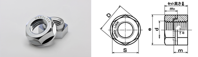 HLN ハードロックナット 寸法図